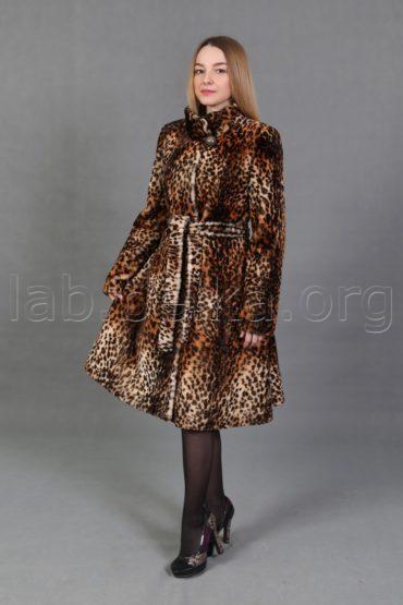 Облегченная леопардовая шуба из овчины